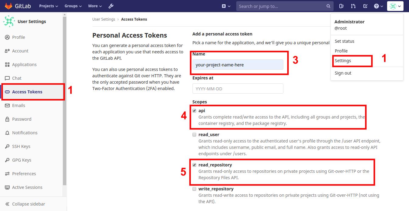 Access tokens dashboard