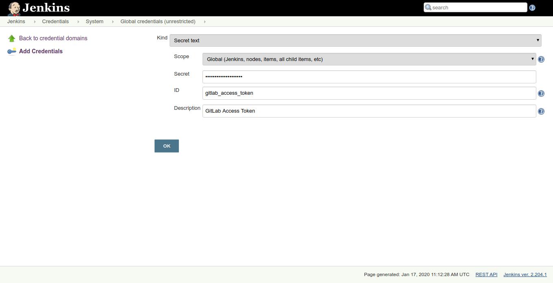 Adding Gitlab credentials