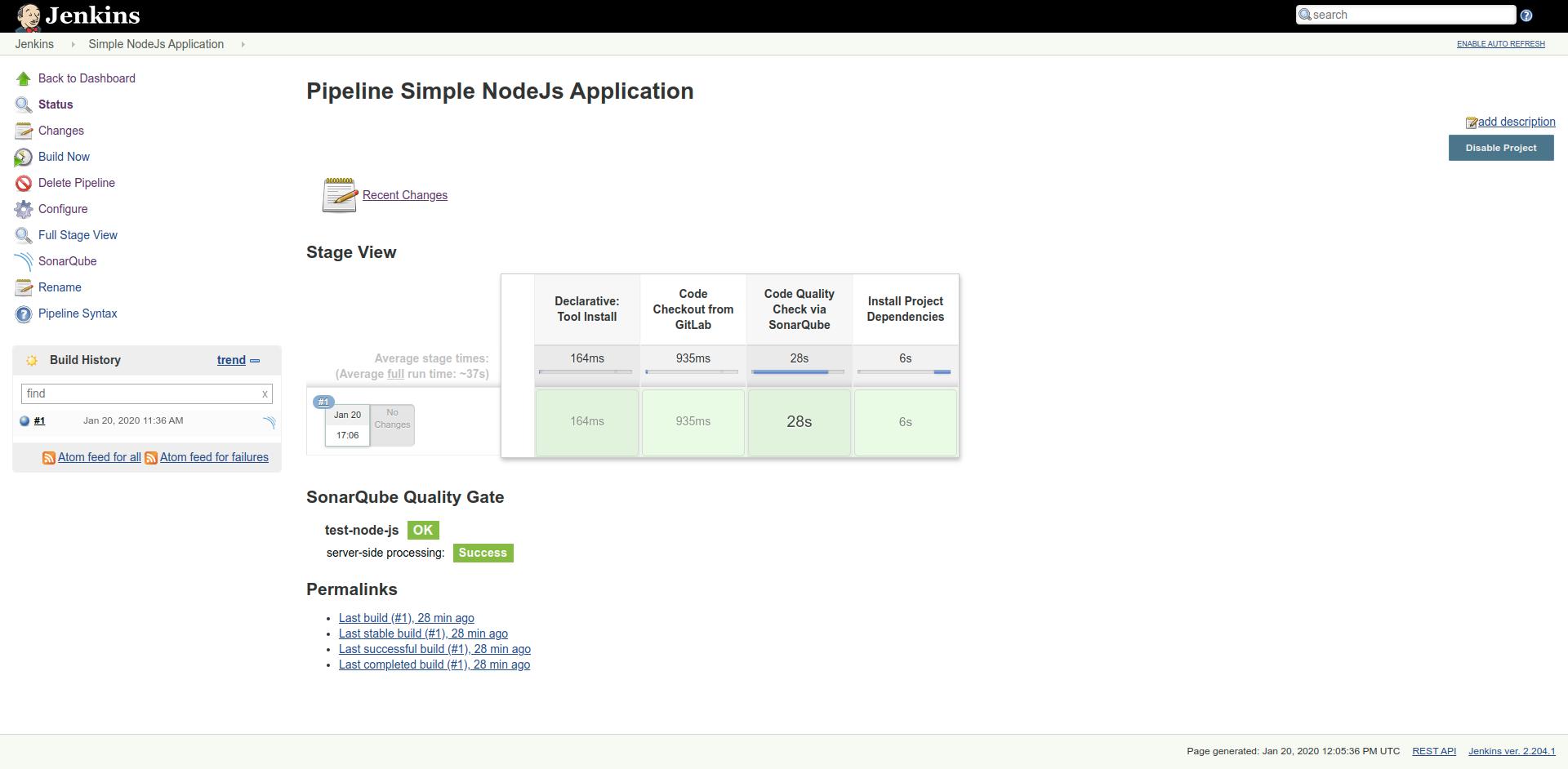 Node application pipeline