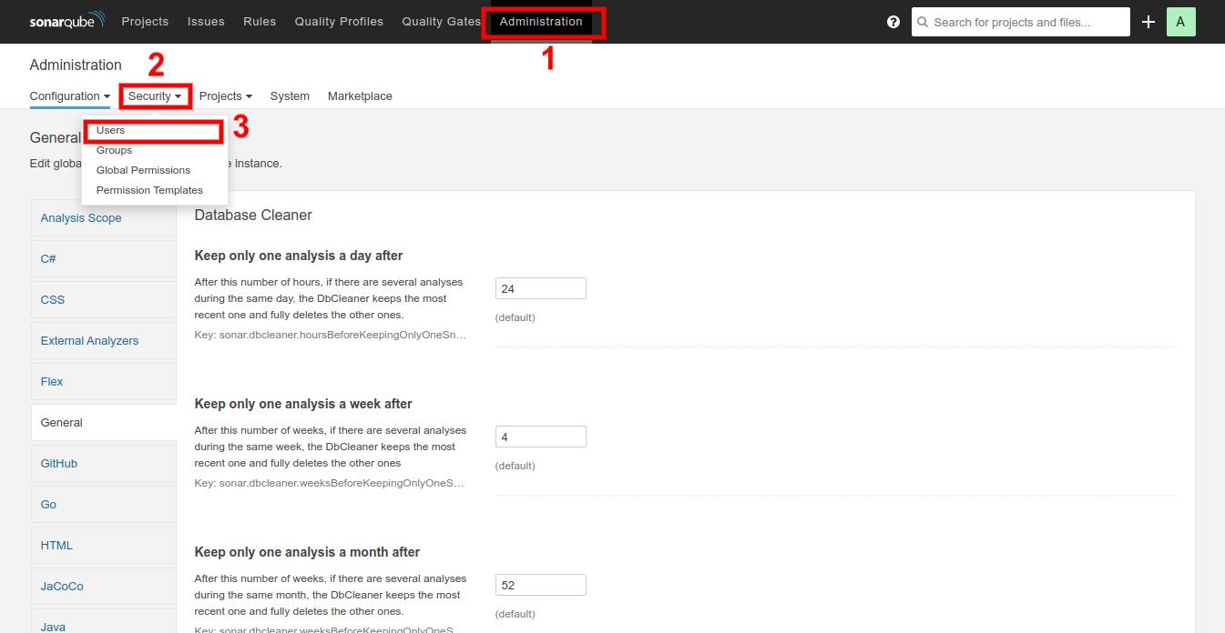 Selecting User tab